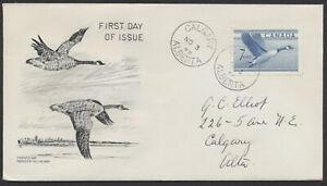 1952 #320 7c Goose FDC, Universal Engravers Cachet, Calgary Alberta