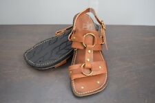 Vintage Sears Leather & Brass Tire Tread Sandals - Mens 10 M - Gladiator, Hippie