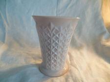 "Jeannette 1950's pink milk glass crosshatch 7"" vase"