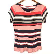 Worthington Orange Black Stripe Scoop Neck Short Sleeve Top Shirt Women's Medium