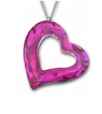$140 Swarovski Large Loveheart Fuchsia Pink Heart Pendant Necklace 1087208