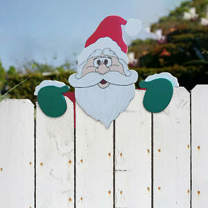 Santa Claus Fence Peeker Christmas Decoration Outdoor Festivity To The Occasion