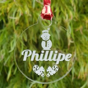 Personalised Christmas Gift Tag - Ornament -  Decoration ANY NAME Wood Acrylic
