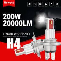 2X H4 CSP LED Fog Headlight Bulb Conversion Kit 200W 20000LM 6000K White DRL HOT