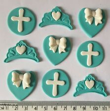 30 x cupcake toppers cake cupcake decorations tiara crosses hearts and bows deco