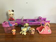 HASBRO My LIttle Pet Shop LOT LIMOSINE Car~zNEW Asian SUSHI Doll~Bird~Cats~Cages