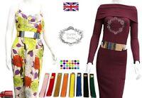 Ladies Women Gold Plate Buckle 6cm Wide Slim Thin Waist Belt Metal Bling UK