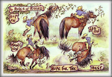 """""""4 RULES OF RIDING"""" - FUNNY Horse & Equestrian Greetings Cards"""