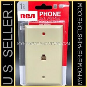 US SELLER ! FREE S&H ! —IVORY— RCA —FLUSH MOUNT—WALL PLATE —TELEPHONE—PHONE JACK