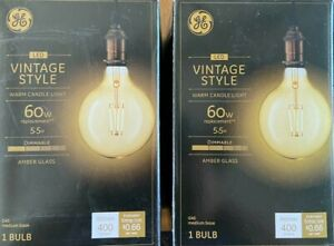 Pack of 2 GE Vintage Style 60W Amber Glass Bulb