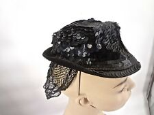 Vintage 1940s Mini Sequin Cocktail Hat With Net Snood Icon Milliner LILLY DACHE