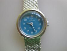 #635 new ladys white gold filled TECHNOS wind-up  watch bracelet