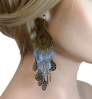 "Pierced Earrings Chandelier Filigree Blue Gold Tone 4 1/2"" Shoulder Duster"