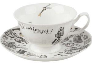 Alice In Wonderland Cup & Saucer Set Fine China Tea White 210ml Gift Box 5200018