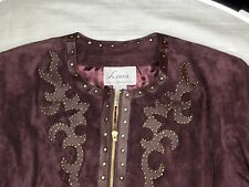 RARE VTG LINEA LOUIS DELL'OLIO GENUINE SUEDE LEATHER GOLD STUDDED BURGUNDY SZ L