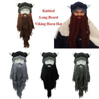 en l'hiver chaud viking corne chapeau fou bonnet de ski longue barbe beanie