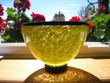 O&M OLA & MARIE HOGLUND NEW ZEALAND STUDIO ART GLASS YELLOW/BLACK BOWL SIGNED