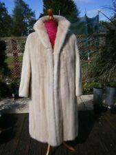 """Sensational vtg 41"""" long glossy IVORY WHITE real mink fur full length coat, MINT"""