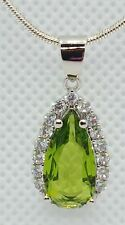 ❤JAYNES GEMS 4CT GREEN  TOURMALINE PENDANT.   & CHAIN SET IN  SILVER