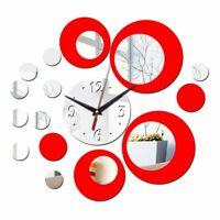 Wall Clock 3d Quartz Watch Plastic Living Room Mirror Wall Sticker Home Decor