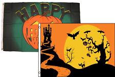 3x5 Happy Halloween 2 Pack Flag Wholesale Set Combo #48 3'x5' Banner Grommets