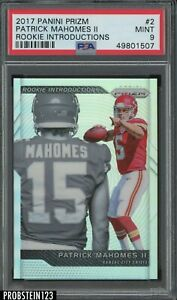 2017 Panini Silver Prizm Rookie Introductions #2 Patrick Mahomes II RC PSA 9