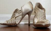 Boutique 9 Womens 6M Heels Champagne Silky fabric Strappy Sandal Neutral BTJILES