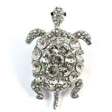Southwest Aztec Gypsy Fashion Clear Crystals Sea Beach Turtle Pin Brooch