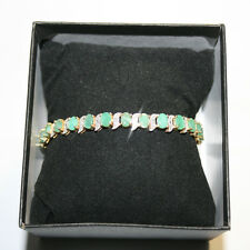 11.25ct Genuine Oval Emerald Diamond Tennis Bracelet 14k Yellow Gold over 925 SS