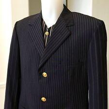 GIANNI VERSACE blue striped wool 3 button blazer Italian size 50 from 1993