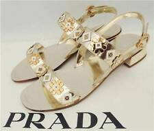 Prada Metallic Flower Strap Sandals Flats UK4  EU37 New