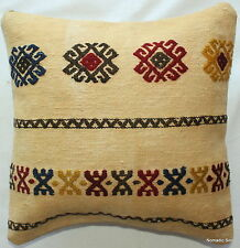 (35*35CM, 14 INCH) Handmade Boho pillow cover natural caramel with motifs