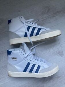 Pair Of Mens White With Blue Stripes Basket Profi High Tops Size UK 9.5
