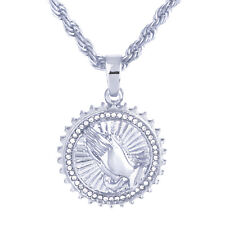 "Men's Silver Tone CZ Pray Hand  Medallion Pendant 24"" Rope Chain Necklace M59 S"
