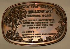 VICTORIAN STYLE PRESSED BRASS PLAQUE SIGN- GILLINGHAM PARK- LEWD INDECENT ACTS