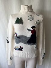 BEAUTIFUL VINTAGE RALPH LAUREN BLUE LABEL HAND KNIT SWEATER ICE SKATING. M