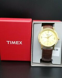 NEW Timex Men's Acqua AA3C79200 Gold Dial Brown Leather Band 30M W/R Watch