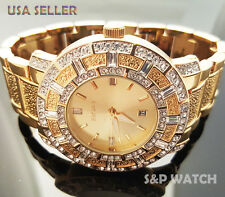 Hip Hop Mens Elegant Gold Tone Bling Iced Out Elgin Dress Crystal bracelet Watch