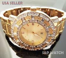 Hip Hop Mens Elegant Gold Tone Bling Iced Out Elgin Dress Crystal bracelet Watch