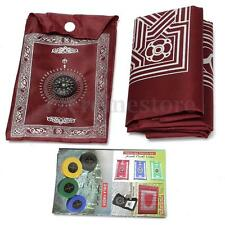 Muslim Portable Pocket Travel Prayer Mat Rug With Qibla Kaaba Compass in Pouch