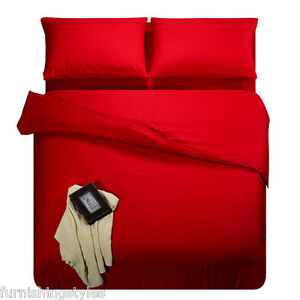 RED COLOUR POLYCOTTON DUVET QUILT COVER WITH PILLOW CASES BEDDING SET LL SIZES