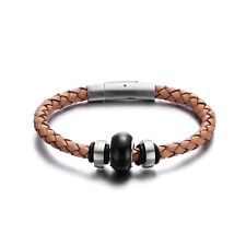 Men Magnetic Stainless Steel Bracelet 8 Inch Brown Leather Bracelets For