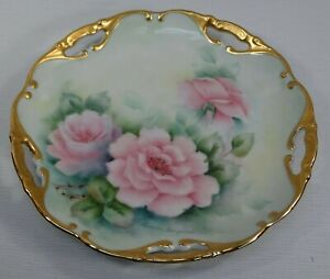 """PRETTY 7.5"""" HAND PAINTED CHINA PLATE PINK ROSES GOLD GILT SIGN LUCILLE SIMPSON"""