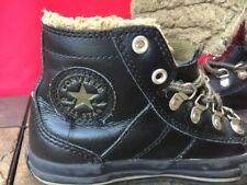 CONVERSE CHUCK TAYLOR Leather Combat Hi Tops Boots Fur Sneakers Boys Shoes Sz 1