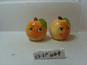 peaches with faces   salt and pepper shakers