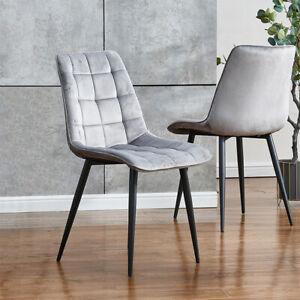 Comfy 2Pcs Grey Velvet Dining Chairs Kitchen Dinning Room Metal Leg Padded Seat