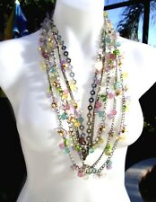 IRIS G Magnificent LONG 5-Multistrand Pastel Lucite Flower Runway Necklace-OOAK