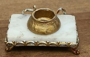 Antique German Inkwell doll house miniature Marble Gold Gilt metal