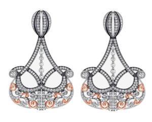 Dangle Chandelier Earrings SI1 G Round Diamond 4.0 Ct 14K White Gold 2.00 inch