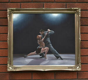 """Tango Dancers Dancing Large Framed Original Oil on Canvas Painting 27"""" x 23"""""""